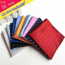 (10 Pcs/Lot)Factory Wholesale Men's 100% Silk Handkerchief Polka Dots Chest Towel Hanky Wedding Banquet Christmas Pocket Square