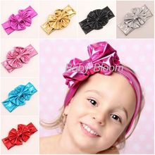 Gold Metallic Bow Hairband, Fashion Cute Turban Cute Acessory Baby Headband