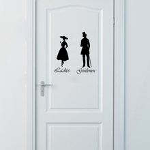 Gentlemen & Ladies Toilet WC Bathroom Door Sign Vinyl Wall Stickers Home Decor Wall Art Decals House Decoration Poster 18X22cm