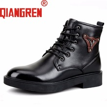 QIANGREN Brand Military Factory Direct Men's Winter Black Snow Boots Genuine Leather Wool Rubber Tactical Boots Militares Botas(China)