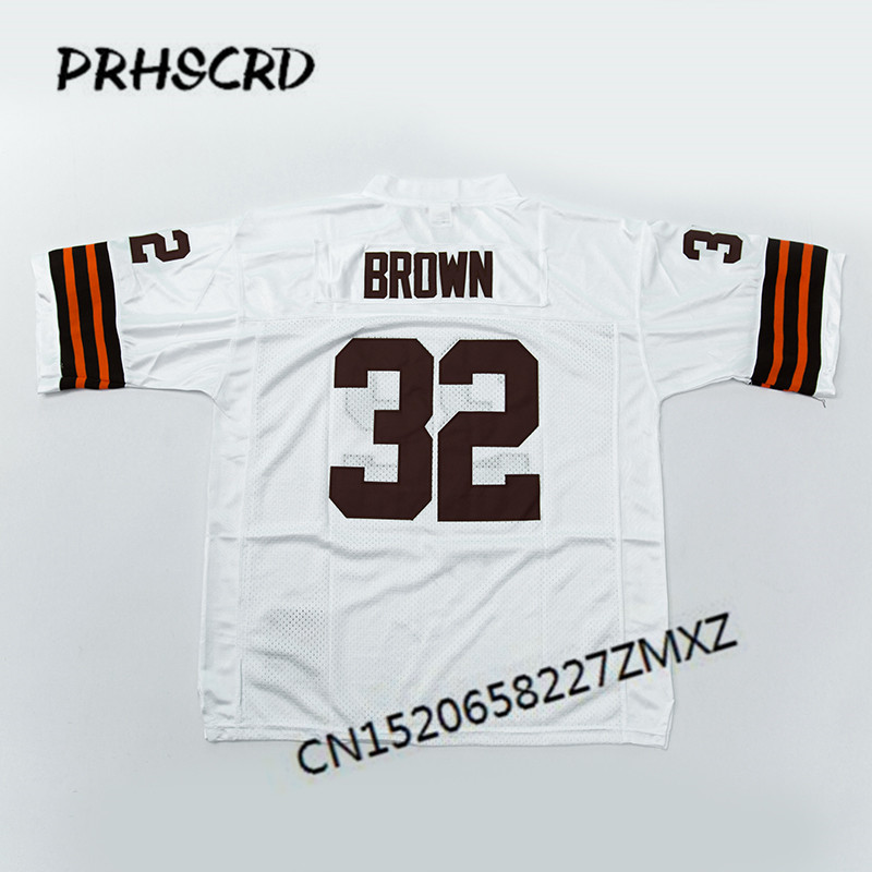 Retro star #32 Jim Brown Embroidered Throwback Football Jersey<br>