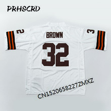Retro star #32 Jim Brown Embroidered Throwback Football Jersey(China)