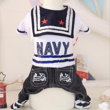 Small Four Leg Puppy Dog Coat jumpsuit Pet Cloth wear For Dog Navy cute Jumpsuit For Teddy Chihuahua