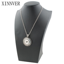 Xinnver Snap Button Jewelry Round Charms Necklace Fit 18MM Button Snap Custom Pendant Sweater Chain ZG024(China)