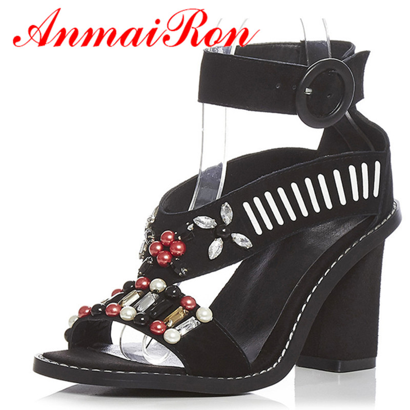 ANMAIRON New Rome Style Summer Sandals Women Nubuck Rhinestone Thick High Heels Sandals Buckle Sweing Stryppy Black Shoes<br><br>Aliexpress