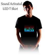 Brand New Sound Activated LED T Shirt Men Light Up Flashing Fashion Cotton EL LED T-Shirt For Rock Disco Party DJ Tshirt AA00(China)