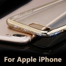 Portefeuille Soft Protective Back Cover Case Bling Diamond Electroplating Frame for iPhone 6 Plus 6S 7 5 5S SE Gold Accessories