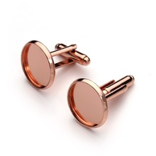 10pcs Rose Gold Color Disc-Shaped Settings Spacers Tie Clips Cufflinks Blank Base for Cobochon Cameo Groomsmen Gifts Cufflinks(China)