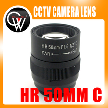 "1.5MP 50mm lens Manual Iris Fixed focal length Lens 1/2"" F1.6 C Mount HD Lens for Machine Vision cameras(China)"