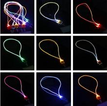 New Arrival LED Lanyard Novelty Lighting LED Optical Fiber Luminous Lanyard Work Card Hanging Rope Light Smile Face LED Lanyard(China)
