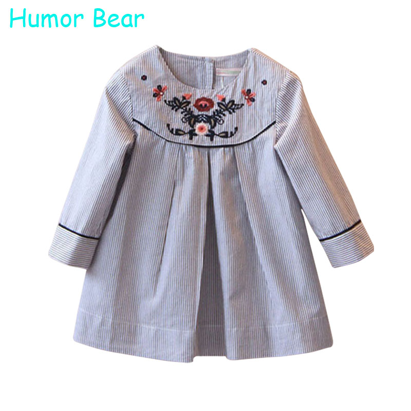 Humor Bear Autumn Girl Dress Brand Girls Clothes Princess Dress Embroidery Floral Design for Kids Clothes Children Clothes<br><br>Aliexpress