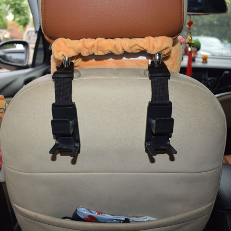2x Car Seat Headrest Hanging Hook Coat Purse Bag Hanger Organizer Holder Beige //