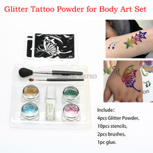 4 colors glitter tattoo kit for temporary body paint tattoo with Stencils brush Glue free shipping