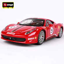 BBURAGO Car Model 1:24 Ferrari 458 CHALLENGE Red Simulation Alloy Car Model With Openable Doors For Boys As Gift Decoration