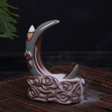 Incense Lore Decor Ceramic Smoke Backflow Cone Incense Burner Booming Flowers and A Full Moon Lotus Censer Q
