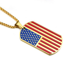 USA Flag the Old Glory Stars Stripes Stainless Steel Jewelry Army Tags Men Pendant Necklaces With Chain