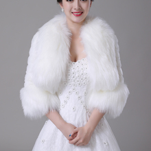 Wedding Accessories Winter Bridal Wraps Bride Bolero Bridesmaid Dress Coat Ivory Faux Fur Plush Tippet Wedding Jacket