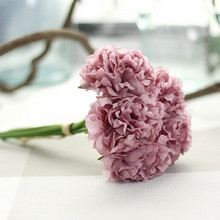 Hot Artificial Silk Fake Flowers Peony Floral Wedding Bouquet Bridal Hydrangea Decor Natural Lifelike Beautiful
