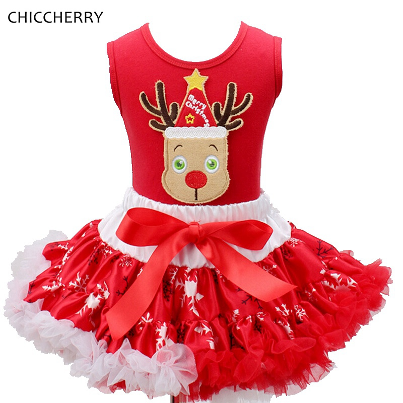 Red New Year Reindeer Christmas Costume Children Bow Toddler Top Lace Skirts Sets Roupas Infantis Menina Kids Girls Clothes<br><br>Aliexpress
