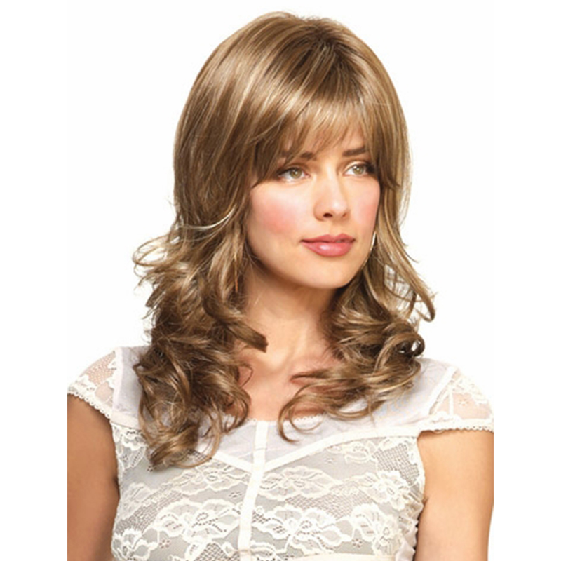 Beautiful Chic Wavy Long Beautiful Hairstyle  Synthetic Hair Wigs Capless Wigs For Women<br><br>Aliexpress