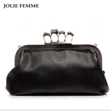 JOLIE FEMME Women Finger Ring Bags Diamonds Skull Clutch Purse Chain Shoulder Bags Black Evening Clutch Bags PU Leather Handbags(China)