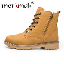 Merkmak Men New Ankle Boots) 가 겨울 가죽 Martin Boots British Style Outdoor Casual Shoes Warm Zipper Men Shoes Black(China)