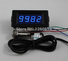 DC 12V 24V 4 Digital Blue LED Counter Meter Up Down+Hall Proximity Switch Sensor