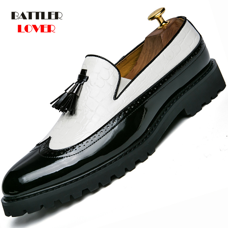 Big Size Italian Tassel Business Formal Dress Men Leather Loafer Formal Dress Flats Designer Office Brogue Oxford Shoes for Men