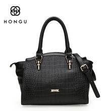 HONGU Top Layer Cow Leather Women Handbags Shoulder Bag Tote Crocodile Pattern Envelope Famous Design Brand Female Messenger Bag(China)