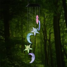 Solar Changing Color Mobile Light, Star & Moon Spiral Spinner Windchime Portable Outdoor Decorative Romantic Garden Night Lamps(China)