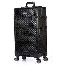 TENSUNVIS Trolley Cosmetic Case Extra large Alu 2in 1 universal wheels trolley cosmetic box makeup case the best beauty case(China)