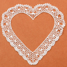 1 Piece Craft collar Venise Love Heart Hollow Embroidered Applique Trim Decorated Lace Wedding Dress Sewing Patchwork Free Ship
