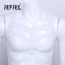 Buy Sexy Men Lingerie Nylon Body Chest Harness Bondage Costume Halter Neck Wetlook Mens Elastic Wide Straps Nightclub Costume Party