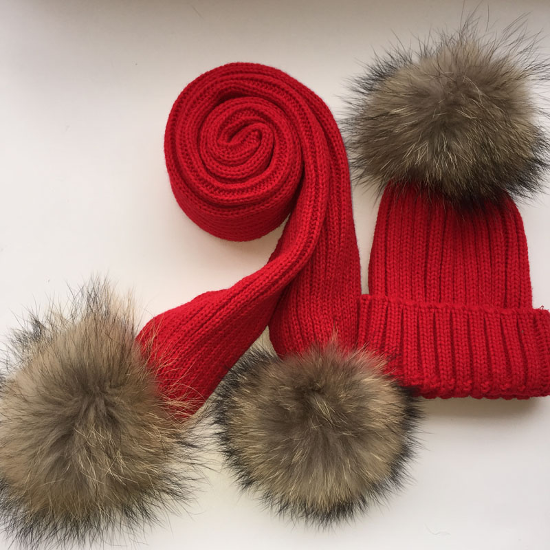 Children knitted Scarf and Hat Set Luxury Winter Warm Crochet Hats and scarves with Real fur pom Beanie Hat for boys and girls(China)