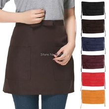 Kitchen Cotton Bow Short Half Waist Apron Bar Pub Cafe Server Waiter Waitress H06