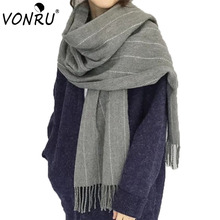 Brand Warm Women Winter Cashmere Scarf Black Gray All Matched Striped Students Bandana Long Tassel Boys Girls Shawls and Scarves