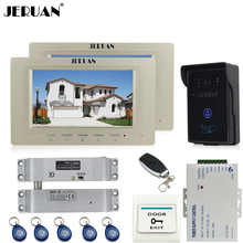 JERUAN two luxury 7`` Video Intercom Video Door Phone System+700TVL RFID Access Waterproof Touch key Camera+Electric Bolt lock