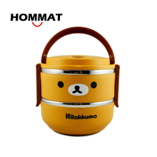 Rilakkuma Bear Lunch Box for Kids Thermo Food Container Japanese Bento Box Lunchbox w Handle Stainless Steel for Kitchen School