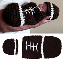 Hat + Baby Sleeping Bag Set Infant Baby Costume Knitted Beanies Hat Handmade Newborn Photography Props Rugby Crochet Hats