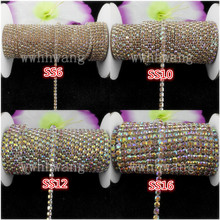 1-3yards,SS6/10/12/16,Crystal yellow ab,Glass Crystal Rhinestone Silver base chain rhinestone chain for phone, cup,mouse,clothes(China)