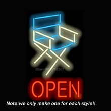 Director Chair Open Neon Sign Beer Pub Recreation Room Garage Windows Sign Neon Signs Club Display Advertising Great Gifts 20x32(China)