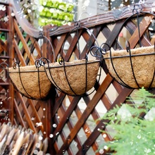 Newest Iron & Coconut DIY Garden Hanging Planters Wall Baskets Pot Hanging Basket Flower Pot Plastic Flower Pots(China)