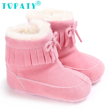 Brand New Winter Baby Zapatp de Bebe Snow Boots Baby Girls Fringe Toddler Shoes Kids Non-slip Booties Infant Crib Shoes Sapatos(China)