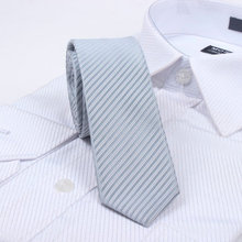 Free Shipping Cheap Slanting 5cm solid color stripe tie british style tie slanting Light gray stripe series(China)