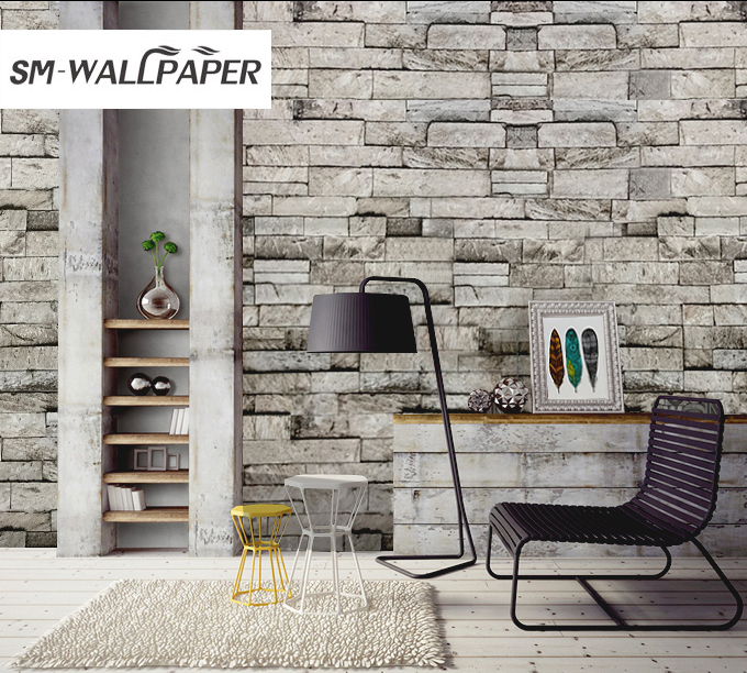 Modern Stone Wall Stickers 3d Brick Pattern Wall Paper Wallpaper For Living Room Bedroom Coffee Background Wall Decoration<br>