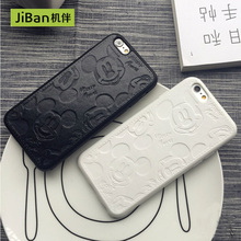 JiBan Retail Luxury Pu leather Cute Mickey Mouse Shell For iPhone 5s 5se 6 6 6s 7 7plus Case Pink Red White Black Cartoon Covers(China)