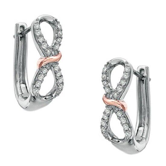 1/7ct Natural Diamond Infinity Loop Earrings 14K Rose Gold Plate Sterling Silver