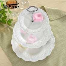 YeFine Ceramic Kitchen Accessories Three Layers Fresh Fruit Platter Snacks Dessert Stand Plates White Relief Porcelain Dishes