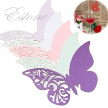 Free Shipping 50pcs Table Mark Wine Glass Butterfly Name Place Cards Wedding Party Favor(China)