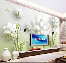 Modern Custom Mural 3D Calla Lily Wallpapers ,Butterfly Flowers Wall Painting Living Room Background Large Photo Mural